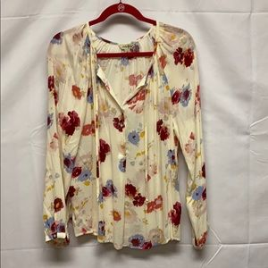 Floral Lucky Brand sheer long sleeve top